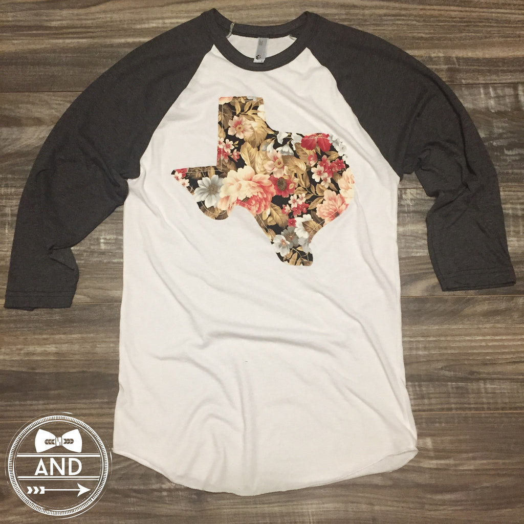 Texas Apparel - Texas Outline Baseball Tee-Floral