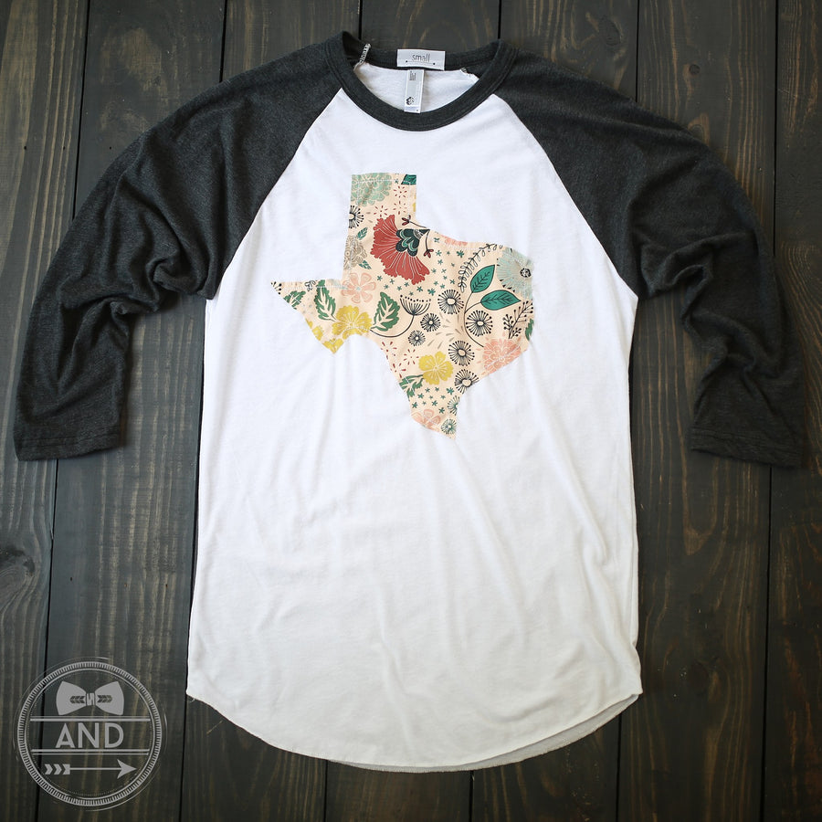 Texas Apparel - Texas Outline Baseball Tee-In Bloom