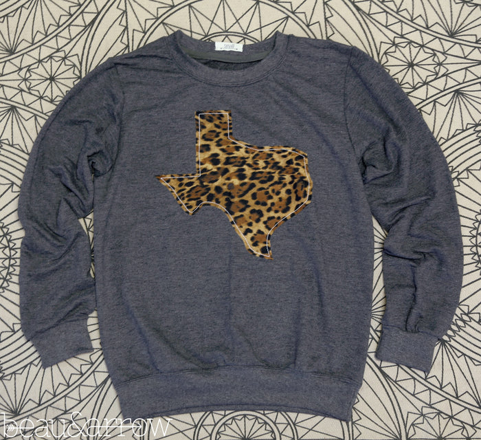 Texas Apparel - Texas Outline Charcoal Pullover-Call Of The Wild (Ships Nov. 3rd)