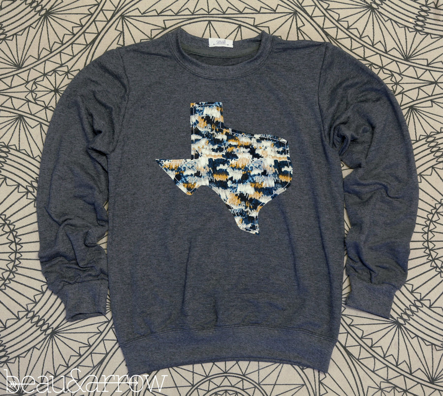 Texas Apparel - Texas Outline Charcoal Pullover-Midnight Macrame (ships Nov. 3rd)