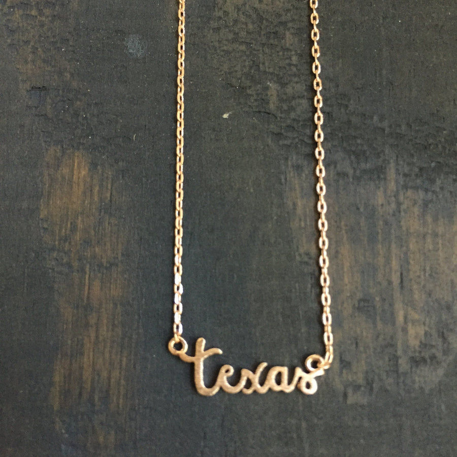 Texas Apparel - Texas Script State Necklace