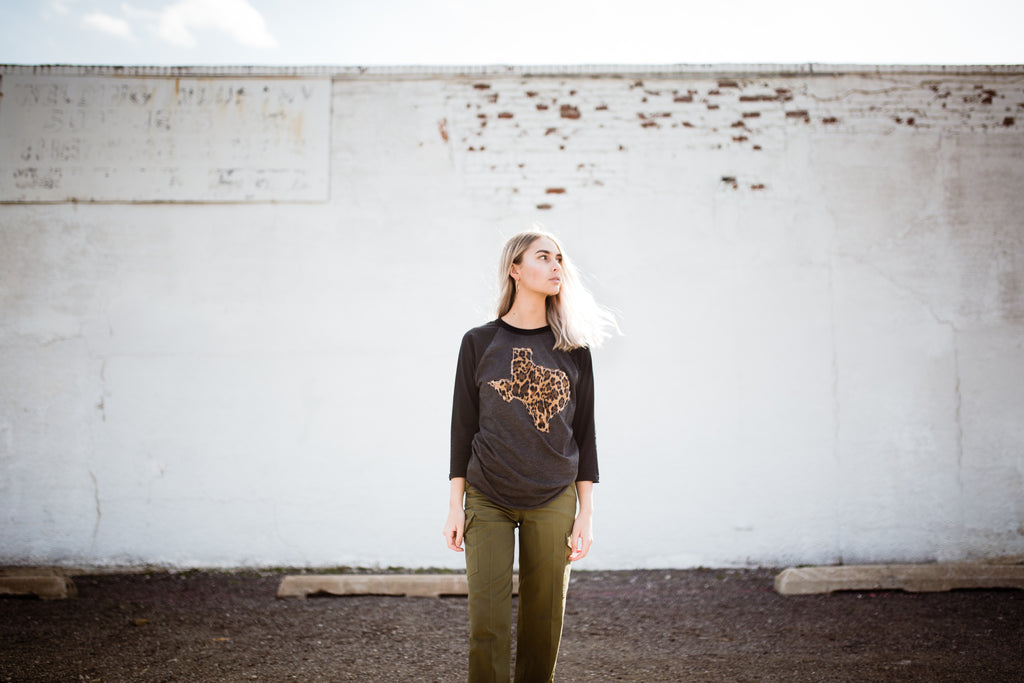 Texas Charcoal Outline Baseball Tee (More Prints Available) - Beau&Arrow