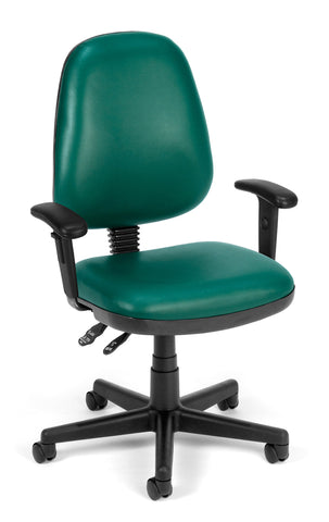 COMPUTER TASK CHAIR W/ARMS-TEAL VINYL