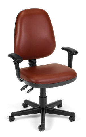 COMPUTER TASK CHAIR W/ARMS - WINE VINYL