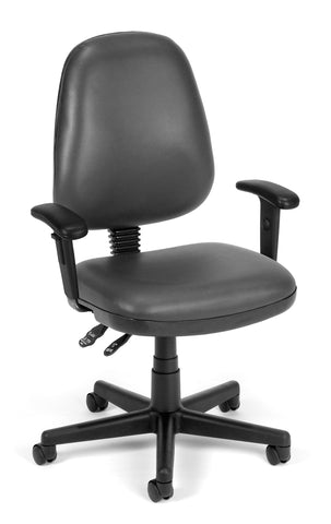 COMPUTER TASK CHAIR W/ARMS-CHARCOAL VNYL