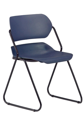 Armless Stack Chair-Navy on Black Frame