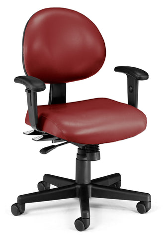 24/7 TASK CHAIR W/ARMS-603-WINE VINYL