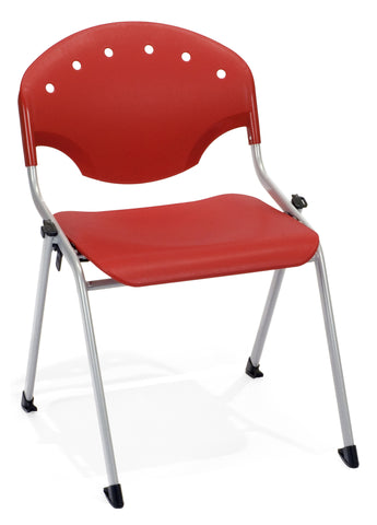 STACK CHAIR NO ARMS P1 - SILVER/RED