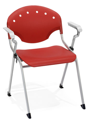 STACK CHAIR W/ARMS P1 - SILVER/RED