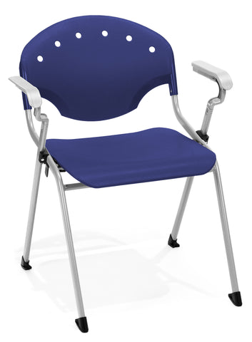 STACK CHAIR W/ARMS 46 - SILVER/BLUE