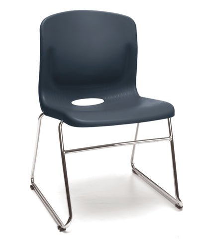 NAVY SLED BASE STACK CHAIR W/ LUMBAR SUPPORT