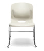 IVORY SLED BASE STACK CHAIR W/ LUMBAR SUPPORT