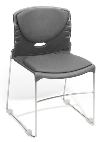 CONTRACT FABRIC STACK CHAIR - GRAY