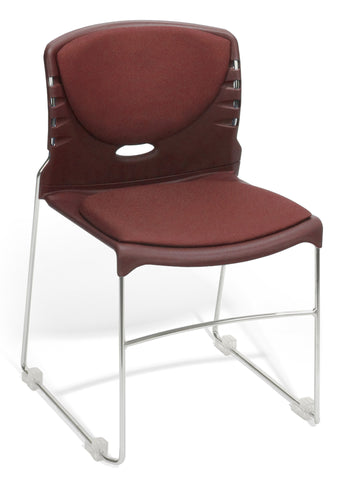 CONTRACT FABRIC STACK CHAIR - WINE