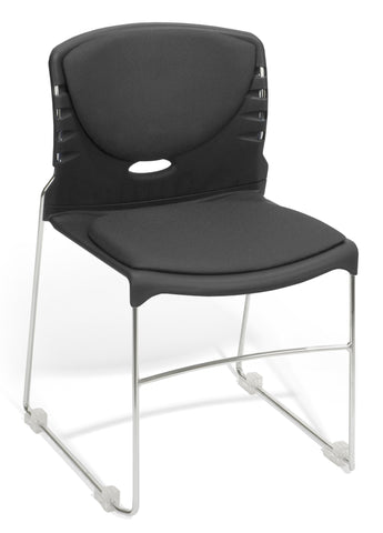 CONTRACT FABRIC STACK CHAIR - BLACK