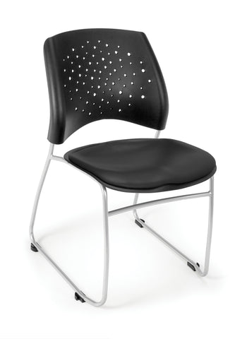Star Stack Chair - Vinyl Seat - BLACK