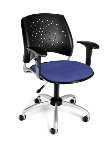 STAR SWIVEL CHAIR W/ARMS-COL BLUE