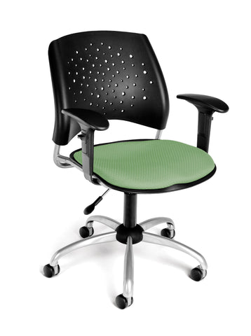 STAR SWIVEL CHAIR W/ARMS-SAGE GRN
