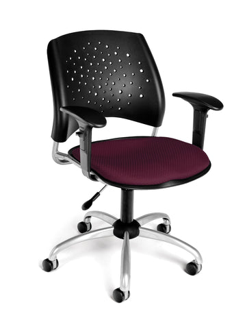 STAR SWIVEL CHAIR W/ARMS-BURGUNDY