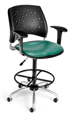 Star Swivel Chair-Vinyl Seat-ArmsDk Teal