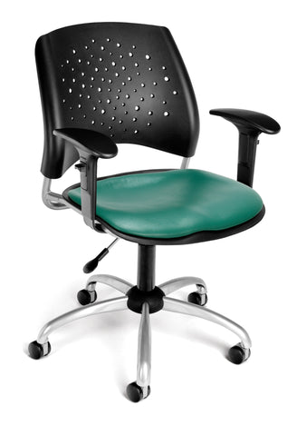 Star Swivel Chair-Vinyl Seat-w/Arms Teal