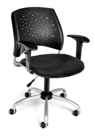 Star Swivel Chair-Vinyl Seat-w/Arms Blk