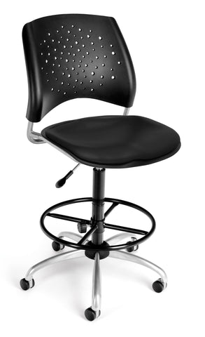 Star Swivel Chair-Vinyl Seat-w/DKit Blk