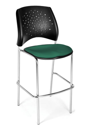 Star Cafe Hgt Chair-ChrBse-Shamrock Grn
