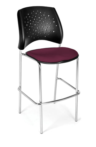 Star Cafe Hgt Chair-ChrBase-Burgundy