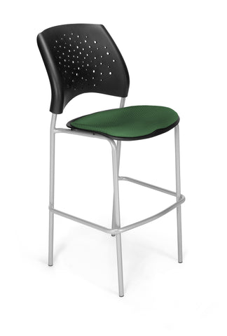 Star Cafe Hgt Chair-SlvrBse-Forest Green