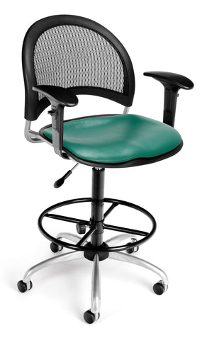 Moon Swivel Chair-Vinyl Seat-Teal Arm-DK