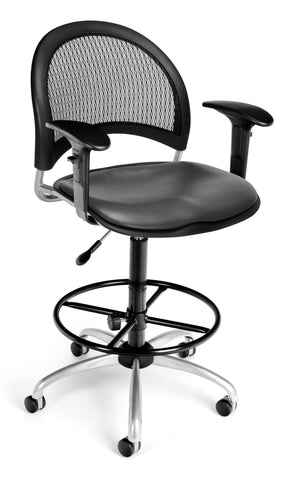 Moon Swivel Chair-Vinyl Seat-Chrc Arm-DK