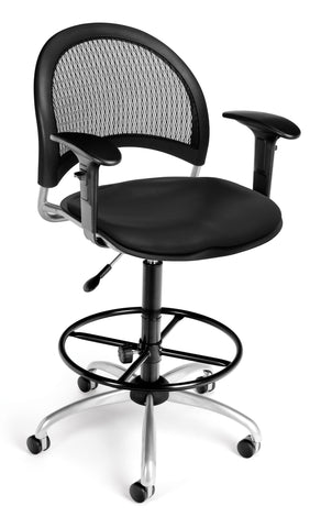 Moon Swivel Chair-Vinyl Seat-Blk Arm-DK
