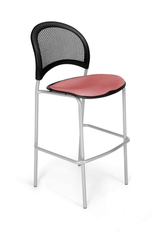 Moon Cafe Hgt Chairs-SlvrBase-Coral Pink