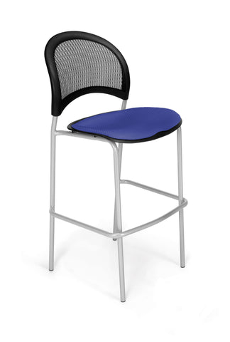 Moon Cafe Hgt Chair-SlvrBase-Royal Blue