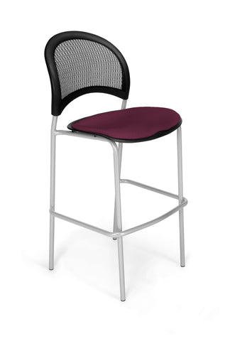 Moon Cafe Hgt Chair-SlvrBase-Burgundy