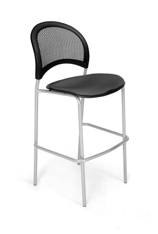 Moon Cafe Hgt Chair-SlvrBase-Slate Gray