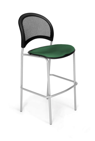 Moon Cafe Hgt Chair-SlvrBase-Forest Green