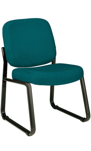 ARMLESS RECEPTION CHAIR-TEAL ICON FABRIC
