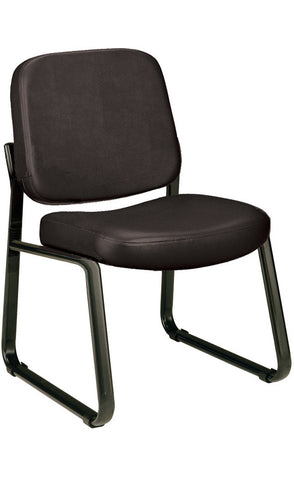 ARMLESS RECEPTION CHAIR - BLACK VINYL