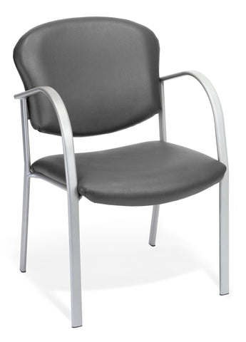 CONTRACT GUEST CHAIR VINYL- 604-CHARCOAL