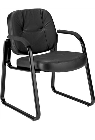 GUEST LEATHER CHAIR - BLACK
