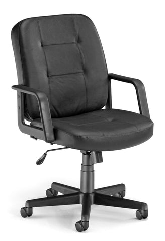 LO-BACK EXEC/CONF BLACK LEATHER CHAIR