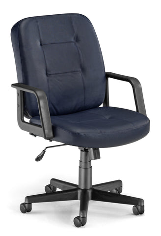 LO-BACK EXEC/CONF NAVY LEATHER CHAIR