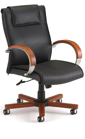 APEX MID BACK EXECUTIVE LEATHER-CHERRY