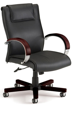 APEX MID BACK EXECUTIVE LEATHER-MAHOG
