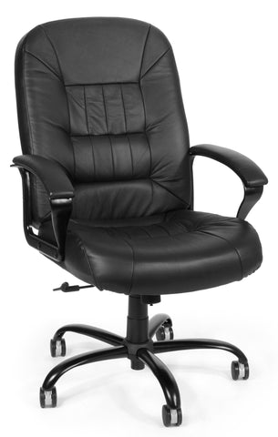 BIG & TALL EXEC BLACK LEATHER CHAIR