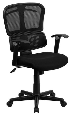 Mid-Back Black Mesh Chair with Conforming Lumbar Support [A-7741-BK-GG]