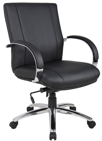 Aaria Collection Elektra Mid Back Executive Chair / Chrome Finish / Black Upholstery