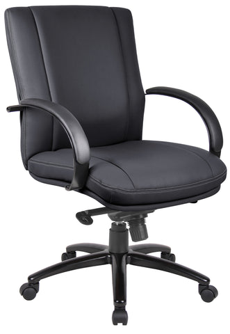 Aaria Collection Elektra Mid Back Executive Chair / Black Finish / Black Upholstery/ Knee Tilt